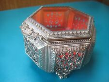 "3"" Antique Beveled Glass Ormolu Vanity Box jewelry trinket vintage watch case"