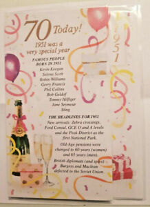 70TH BIRTHDAY CARD FEMALE SPECIAL YEARS RELEVANT TO MILESTONE BIRTHDAY 1951