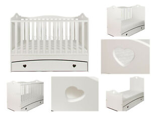 Solid Love Heart IMOGEN White Baby Cot Bed Drawer - Optional Mattress 140x70x10