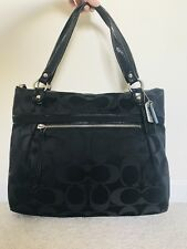 Coach Poppy Signature Sateen Glam Tote Double Handle Black XLarge 18988