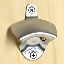 Bottle Opener Wall Mounted Brushed Stainless Steel with Screws by Barware Gear
