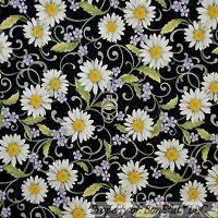 BonEful Fabric FQ Cotton Quilt Black White Purple Yellow VTG Flower Calico Daisy