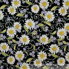 BonEful Fabric Cotton Quilt Black White Purple Yellow Flower Calico Daisy SCRAP