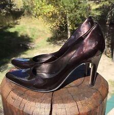 Nine West Women's Chocolate Brown Leather Stiletto Pointy Toe Shoe Size 7.5M