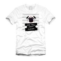 Funny Bad Dog Mugshot (Pug) - Funny White Unisex T-Shirt