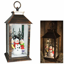 Christmas Light up Lantern with Snowman 30cm Battery Operated Decoration
