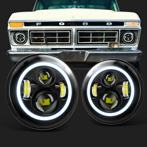 For Ford Bronco Mustang F-100 F-150 F-250 7 Inch LED Headlights Round Halo DRL
