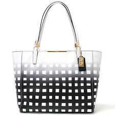 Coach Madison East West Tote in Gingham Saffiano Leather 30118 LI/White/Black