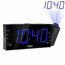 "Projection Ceiling Wall Clock FM Radio Alarm Clock 7"" LED USB Port Bedroom Desk"