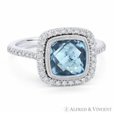 2.89ct Cushion Cut Blue Topaz & Diamond Pave 14k White Gold Halo Right-Hand Ring