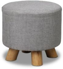 Artiss Fabric Round Ottoman Grey Breathable Faux Linen Cover Solid Pine Wood Leg