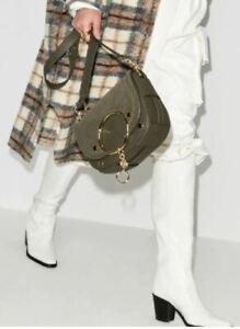 See By Chloe MARA Saddle Leather Shoulder Bag Night Forest Green/Gold ~DUST BAG