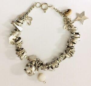 "VINTAGE Sterling Silver 925 Box Modern Charm Bracelet 7 1/4""/18.5cm 26.4g"
