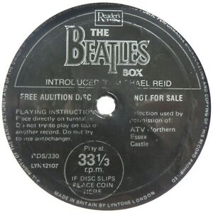 """THE BEATLES BOX SET-RARE READERS DIGEST NOT FOR SALE 33-RPM 7"""" FLEXI DISC, AS-IS"""