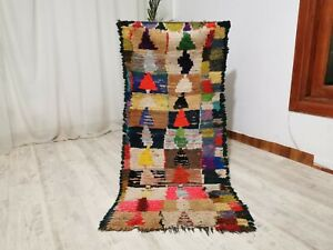 "Moroccan Berber Handmade Vintage Checkered Tribal Rug 2'7"" x 5'8"" Feet Carpet"
