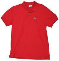 Lacoste Mens Size 5 Red Polo Golf Short Sleeve Dress Shirt Alligator Logo