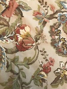 Pair (2) Pottery Barn Linen Magnolia Pillow Cover 24 x 24 Greens Blue Browns