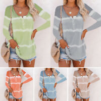 Women Stripe Long Sleeve Autumn Winter T-Shirts Pullovers Blouses Tops Fashion