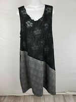NWT $100 Noblu Black Plaid Dress Cotton, Spandex Sleeveles Size L/XL Floral Lace