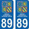 2 STICKERS STYLE PLAQUE IMMATRICULATION BLASON BOURGOGNE FRANCHE COMTÉ DEPT 89