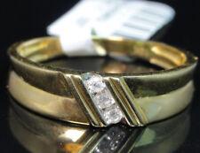 10k Yellow Gold Men's Three Stone Genuine Round  Diamond Wedding Band Ring 6mm