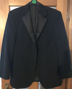 M&S TAILORED BLACK MENS DINNER JACKET FRONT BUTTON/SLEEVES FULLY LINED