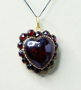 Victorian Bohemian Garnet Pyrope Gild Silver Love Heart Locket Neck Pendant Fob