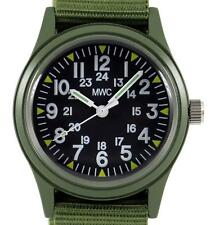 MWC Classic 1960s/70s US Pattern Olive Drab Watch on Olive Green Military Strap