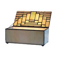 ART DECO DESIGN 20.5CM GLASS TRINKET JEWELLERY BOX LEADED GLASS STORAGE BOX