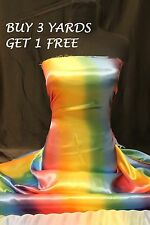 Satin Rainbow Multi-colour Print Dress-making Crafts Fabric Material