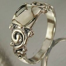 925 Sterling Silver Swirls Ring US 7 3/4 AU P oxidised 8.5mm Centre, 3.5mm Band