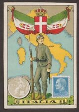 ITALY 1930's PHILATELIC TRADING CARD DEPICTING SOLDIER, STAMP, COIN & MAP