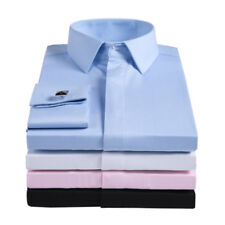 Mens Long Sleeves French Cuff Shirts Formal Business Work Dress Multicolor A6405