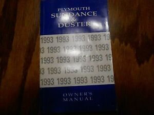93 Plymouth Sundance Duster Owners Operators Manual