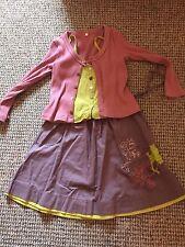 CAPTAIN TORTUE jupe top cardigan Outfit Set Mauve Vert Citron Rose poudrée 6 ans 7