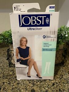 JOBST ULTRASHEER SUPPORT COMPRESSION STOCKINGS 8-15 mmHg SILKY BEIGE LARGE NEW
