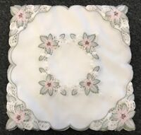 """2 Pcs 16"""" Embroidery Square Fabric Doily Doilies Embroidered Wedding Party Decor"""