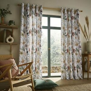 Voyage Maison Oceania Lined Eyelet Cotton Blend Curtains in Sandstone