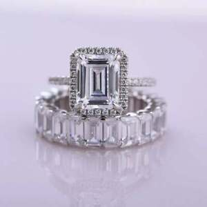Unique Halo Art Deco Emerald Cut Diamond Bridal Wedding Ring 14k White Gold Over