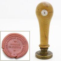 Antique 1939-1941 Wood & Brass Wax Seal Stamp