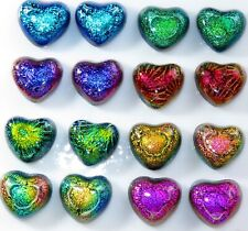 TINY 16 Dichroic Glass Heart Earring 8 sets Cabochon CAB TILE  Mosaic Scrapbook