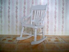 1:12 - dekorativer Miniatur SCHAUKELSTUHL - Weiß - Puppenhaus - (Nr.