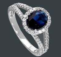 925 ECHT SILBER RHODINIERT *** Ring Zirkonia  saphir safir blau  Größenauswahl