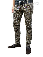 Mens Drainpipes trousers jeans vtg 80s indie mod Leopard print hipsters Skinny