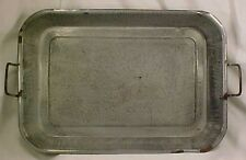 Vintage Gray Graniteware Baking Roasting Pan with Wire Bail Handles Country
