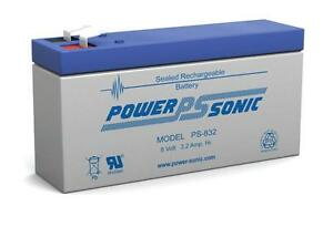 PS-832 Power-Sonic 8v 3.2Ah PS832 Rechargeable Sealed Lead Acid 8 volt Battery