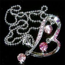w Swarovski Crystal Bridal Wedding Valentine ~Pink Love HEART~~ Pendant Necklace