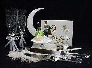 Disney  Princess Tiana & Prince Wedding Cake Topper LOT Glass African- American
