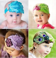 Cute Baby Kids Girl Infant Toddler Feather Headband Lace Flower Hair Band ES