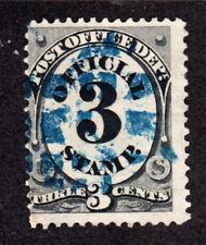 US O49  3c  OFFICAL STAMP  1873  FANCY BLUE CANCEL- FINE 6927